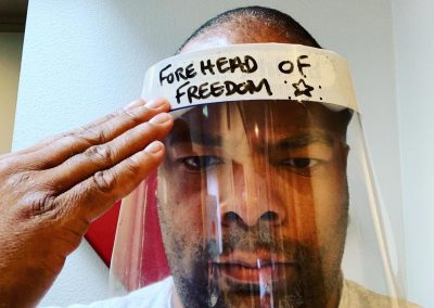 Face shield: Forehead of freedom.
