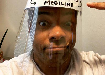 Face shield: Movement is medicine.